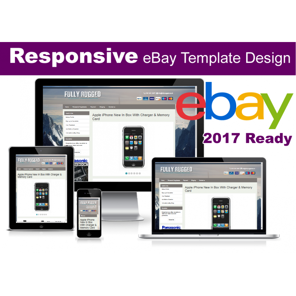 Responsive EBay Listing Template No Active Content Ready - Ebay website template