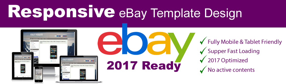 Responsive EBay Listing Template No Active Content Ready - Mobile friendly ebay template